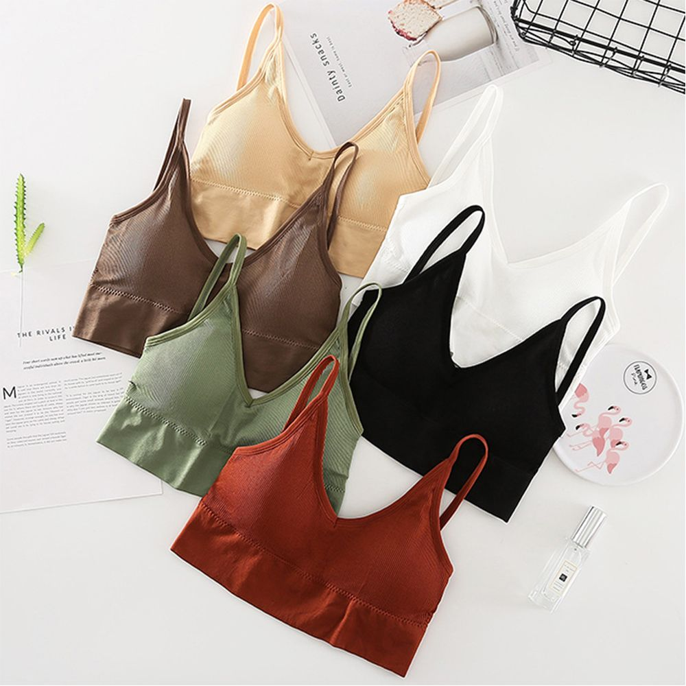 Sexy U-shaped Women Bra Back Sling Strap Seamless Bras Lingerie Breathable Wrapped Chest Sports Vest Tops Anti-light Underwear