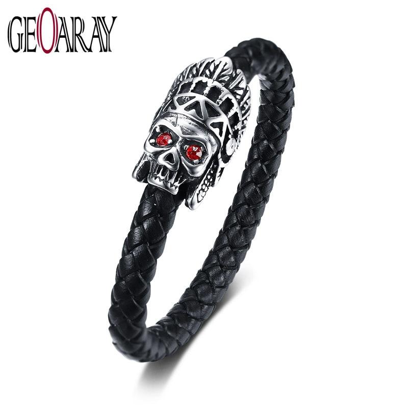 Geoaray Punk Style Black Leather Bracelets Stainless Steel Skull Red Eye Handmade Braided Rope Jewelry