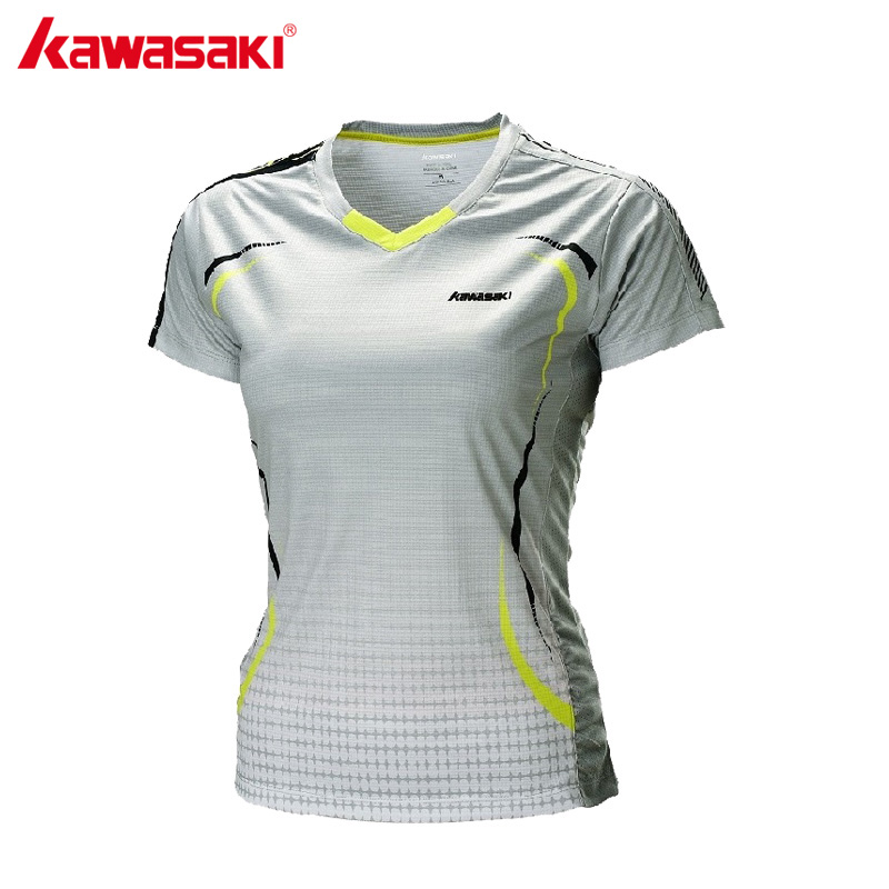 KAWASAKI 2017 NEW Polyester Quick Dry Sports T-Shirt Gym Fitness Women Short Sleeve Badminton Shirts Sportswear ST-172005