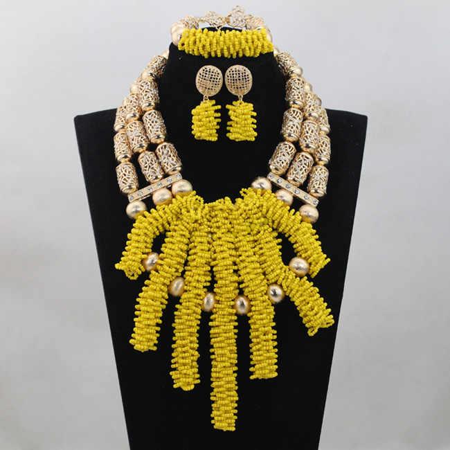 2016 Nova Handmade Amarelo Limão Contas de Casamento Africano Colar Conjunto De Jóias de Noiva Contas de Cristal Set Jóias Frete Grátis ANJ127