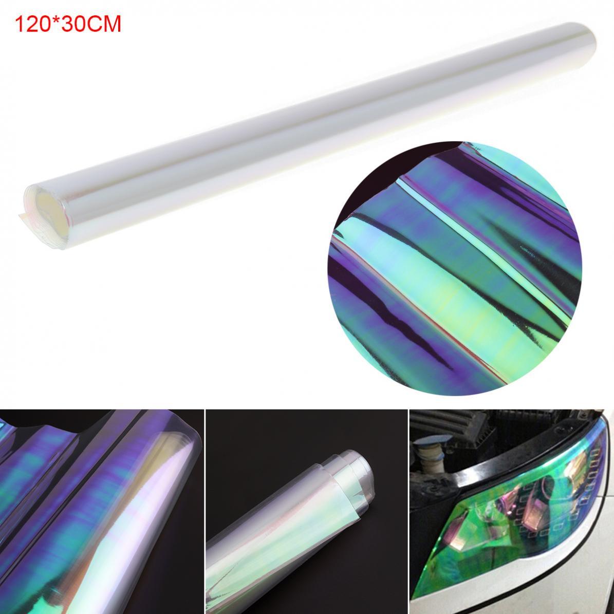 120x30 Cm Pvc Universale Trasparente Colourful Auto Del Faro Sticker Automobile Fanale Posteriore Della Lampada Della Nebbia Di Colore Cambiare Film Autoadesivo