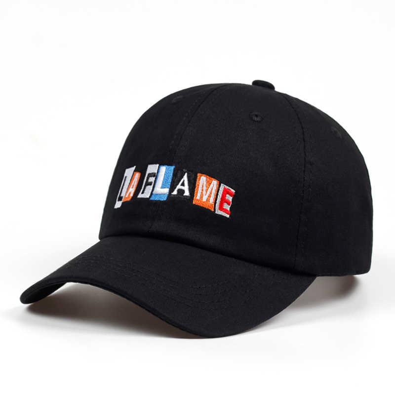 Flame Embroidery Dad Hat Baseball Cap Unconstructed Cotton Vintage