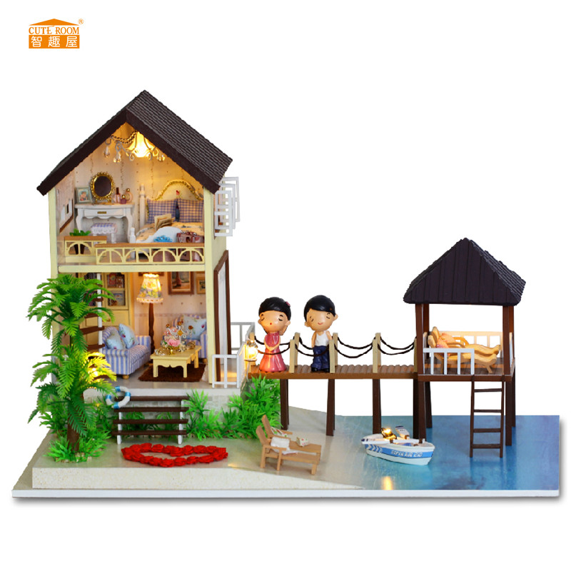 CUTE ROOM Maldives Style Miniature Wooden Doll House With DIY Furniture Craft Fidget Toys For Kids Children Birthday Gift A-027CUTE ROOM Maldives Style Miniature Wooden Doll House With DIY Furniture Craft Fidget Toys For Kids Children Birthday Gift A-027