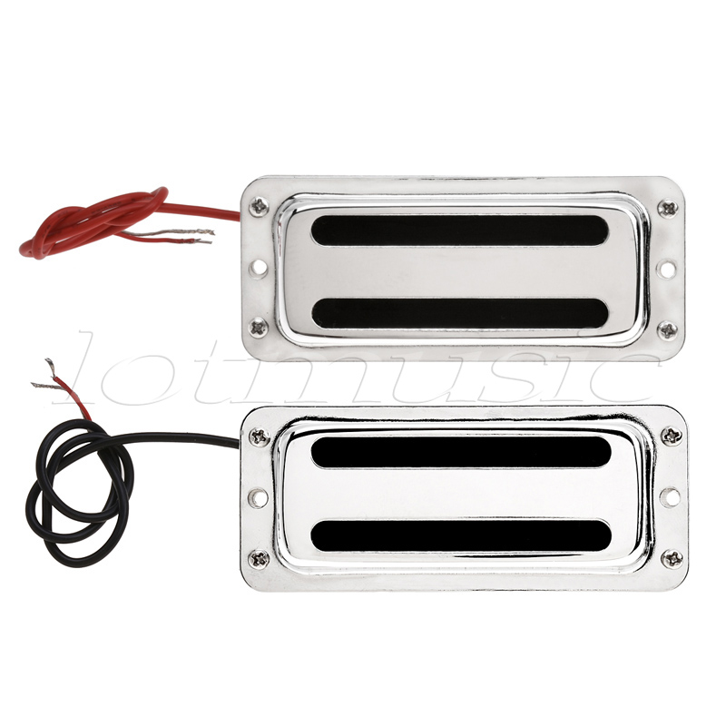 mini humbucker pickups set bridge and neck for bass guitar parts replacement chrome in guitar. Black Bedroom Furniture Sets. Home Design Ideas