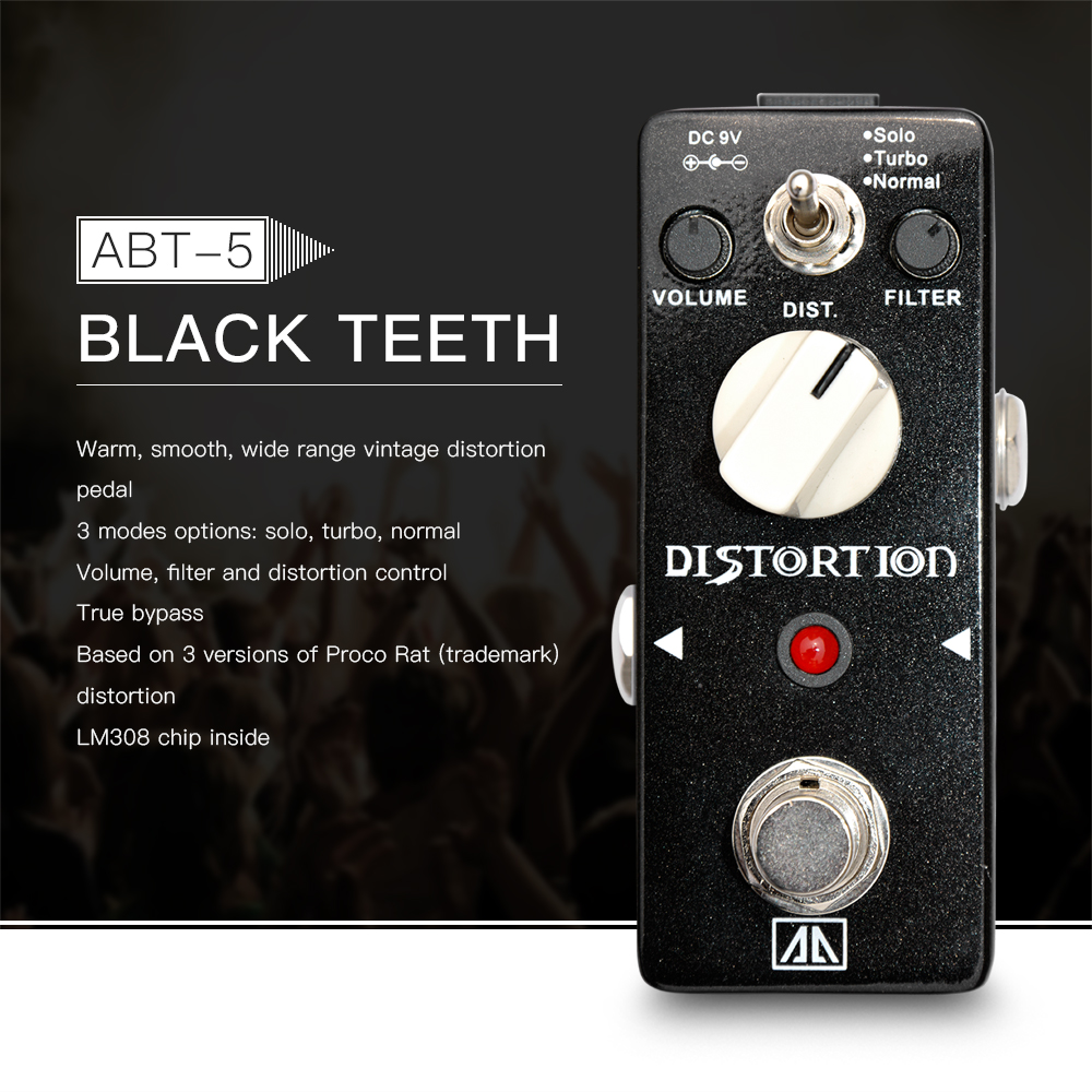 AROMA ABT-5 Classic Distortion Guitar Effect Pedal Warm Smooth Wide Range Distortion Sound, True Bypass, Base on Proco Rat