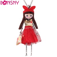 Newei Handmade Doll Necklace Long Dress Trendy Acrylic Alloy Pendant 2015 Fashion Jewelry For Women Charm