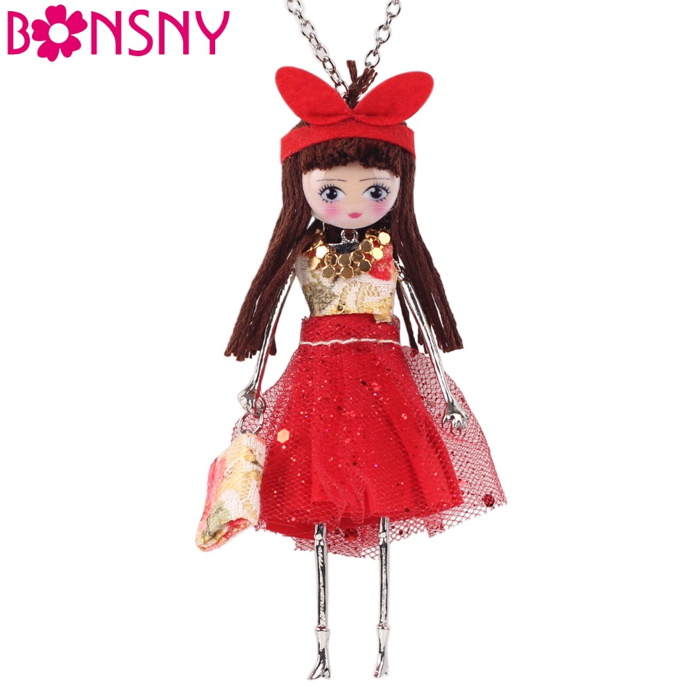 Bonsny Handmade Statement Doll Necklace Dress Acrylic Alloy s