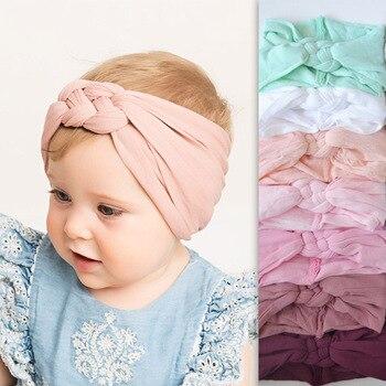 2019 nouveaux bandeaux en Nylon tressé enfants filles enfants tordus Top croix noeud chapeaux élastiques doux bandeaux cheveux accessoires