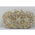 2017 New Golden Crystal Clutch Bag for Women Heavy Cherry Blossom Crystal Evening Bag with Gold Chain Wedding Clutch for Bride