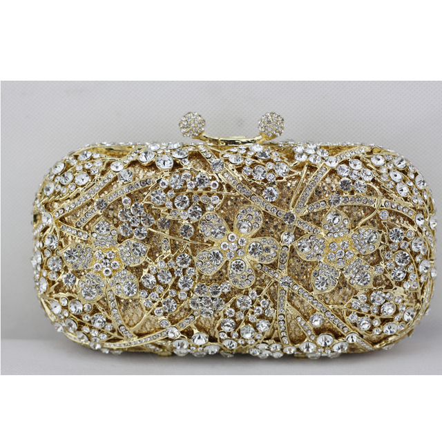 9eb988b86726 2017 New Golden Crystal Clutch Bag for Women Heavy Cherry Blossom Crystal  Evening Bag with Gold