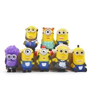 Image 3 - 8 יח\חבילה Minion מיניאטורי צלמיות צעצועים חמוד יפה דגם ילדים צעצועי 5.5cm PVC אנימה ילדי דמות