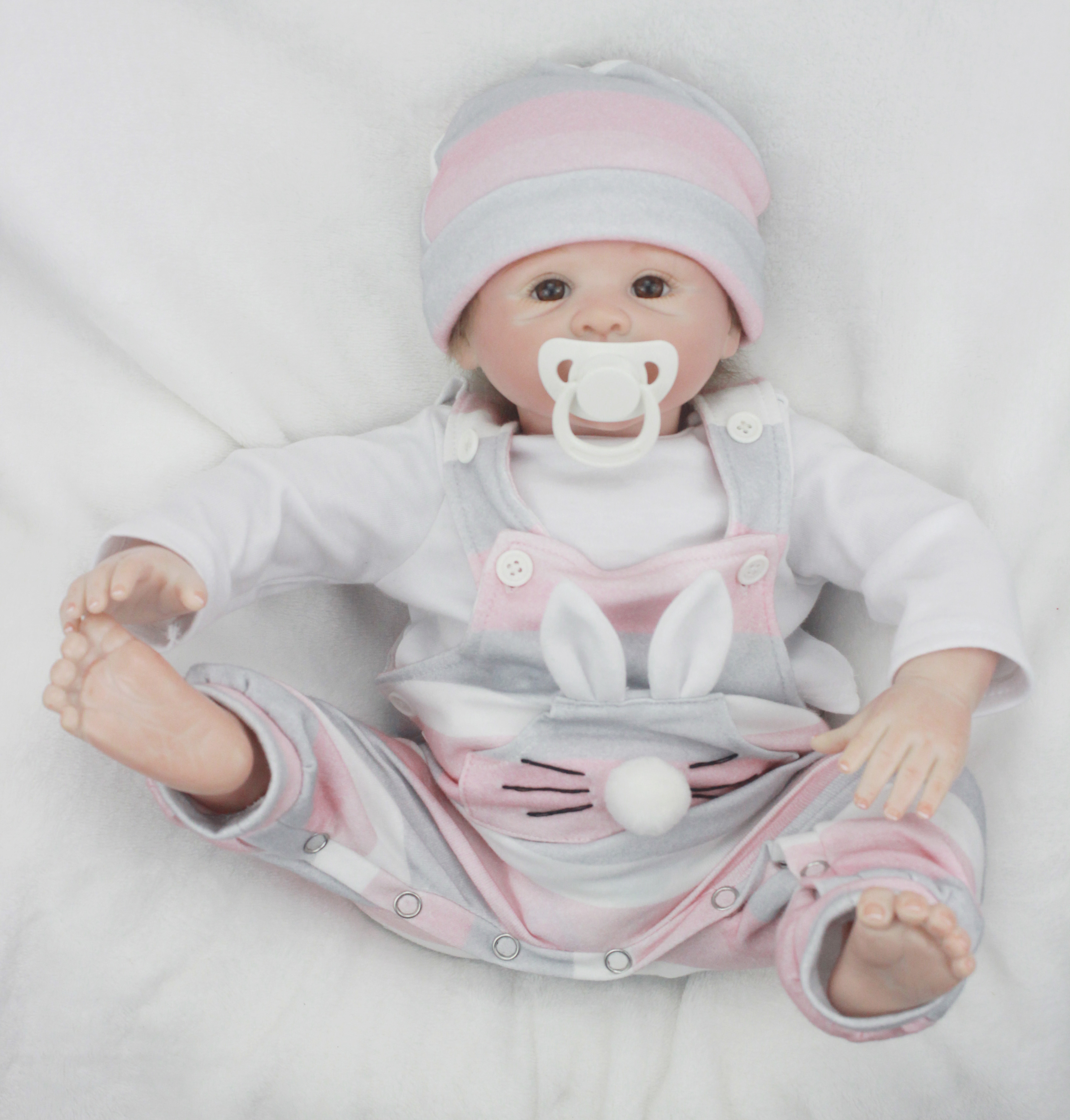 50cm Soft Silicone Vinyl Reborn Baby Doll Newborn Lifelike Doll Fashion Playmates Toy for Kids Children Girl Birthday Gifts new arrival 55cm blue eyes pink clothes lifelike baby soft girl doll with free plush toy as kids xmas gifts birthday doll toys