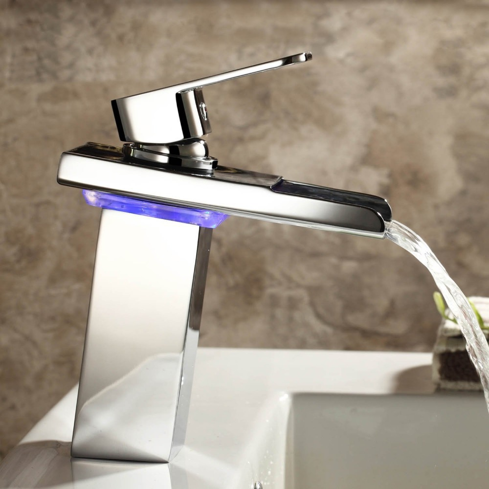 led bathroom changing faucet moonlight sink basin faucets top waterfall color glass
