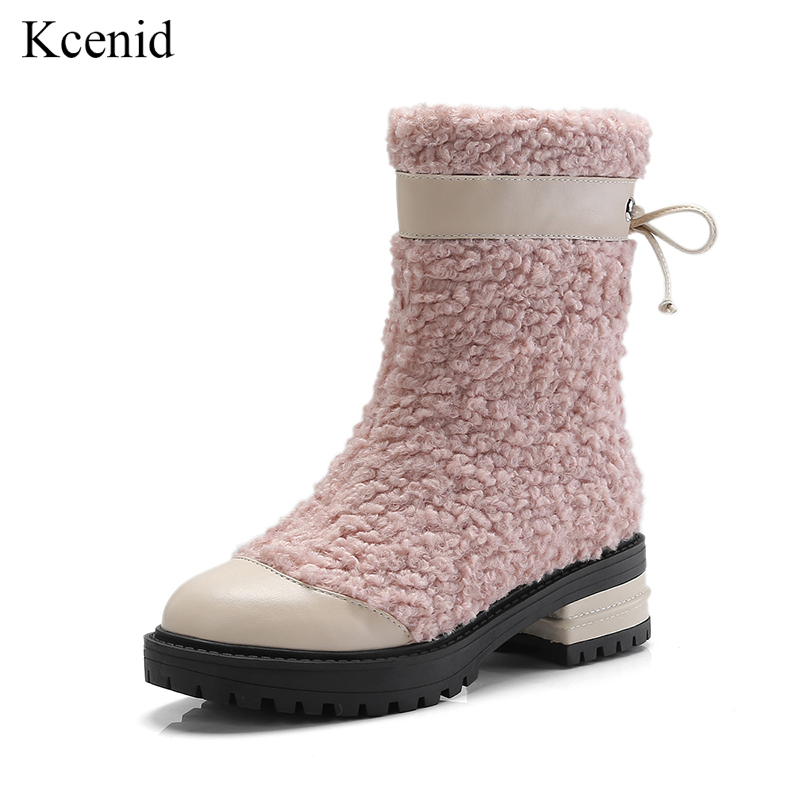 Kcenid Newest fashion snow boots women shoes med heel pink lambswool ankle boots for women zipper warm plush women winter boots