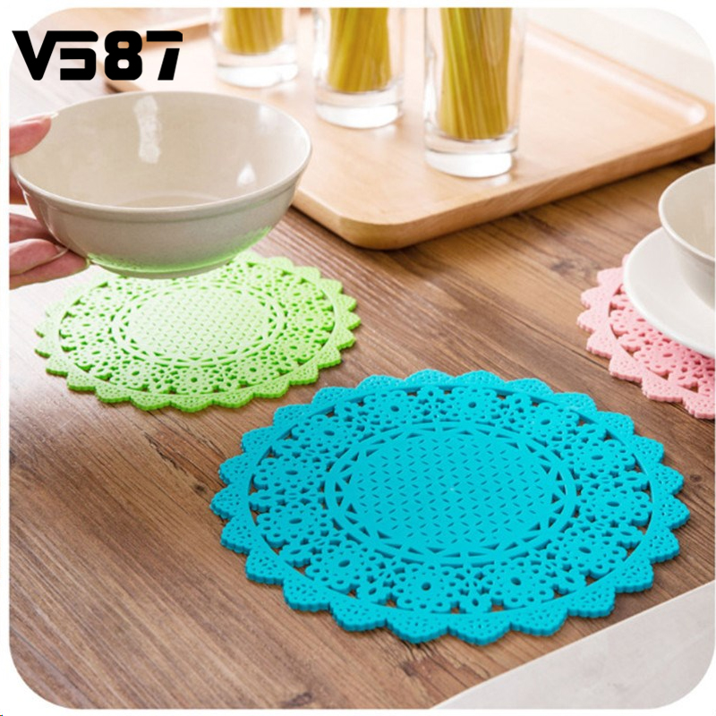 4pcs pvc lace flower doilies for party wedding table decor cup coaster cake holder heat resistance mat colorful placemat