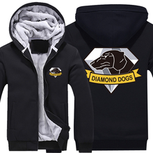 Game MGS 5 Metal Gear Solid V The Phantom Pain Diamond Dogs Logo Zip Up Cotton Super Warm Fleece Hoodies Coats