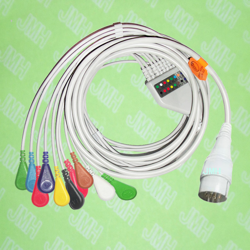 лучшая цена Compatible with 11 PIN Fukuda FX-031 EKG patient monitor Machine the One-piece 10 leads ECG cable and snap leadwires,IEC or AHA.