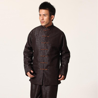 Brown Chinese Men S Traditional Cotton Coat Kung Fu Jacket Mandarin Collar Overcoat Size M L