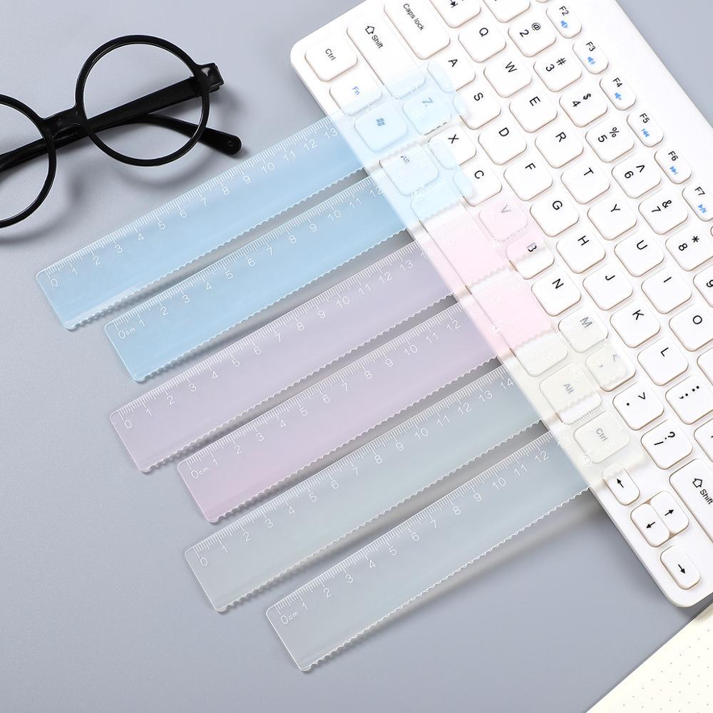 1 ud. Regla de plástico de Color caramelo de estilo Simple regla transparente para niños regla de diseño suministros escolares Kawaii suministros de dibujo