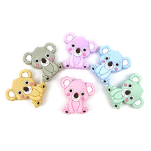Baby Teethers Silicone Beads Food Grade Cartoon Koala Baby Teether BPA Free Teething Toys DIY Pacifier Necklace Baby Products