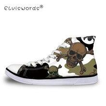 ELVISWORDS Lace-up Men Canvas Shoes Boys Espadrilles Camouflage Skull Print Flat Vulcanize Shoes Chaussures Plus Size 37-45 Male