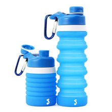 Foldable silicone drink Water bottle Collapsible outdoor travel Sports 550ml best gift Childrens kettle with hook light weight
