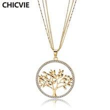 Chicvie Золотая/серебряная цепочка ожерелье с деревом жизни