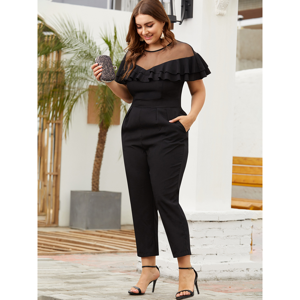2020 Summer Women Jumpsuit Plus Size 6XL Black Chiffon Ruffles  Jumpsuit High Waist Harem Pants Elegant Female Playsuit D25