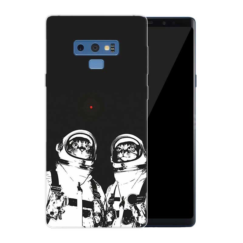 Transparent Soft Print Back Case For Samsung Galaxy Note 8 9 5 4 3 C5 C7 C8 C9 Fundas Cover Coque Space Moon Astronaut in Fitted Cases from Cellphones Telecommunications