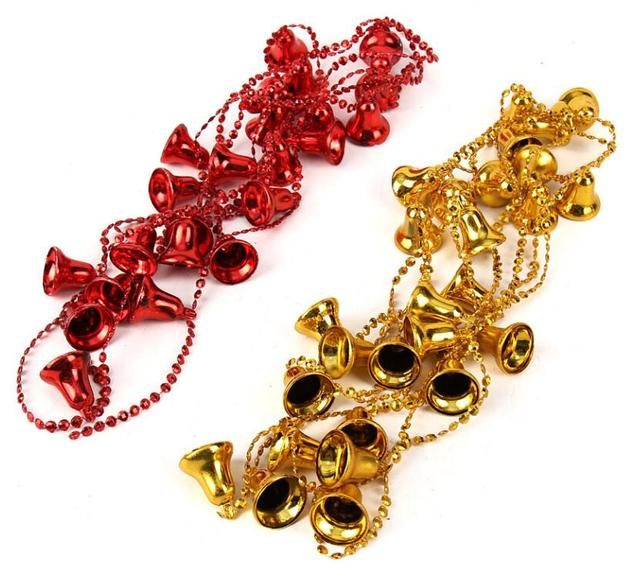 5pcs 2 9m gold silver red jingle bell garland chain for christmas