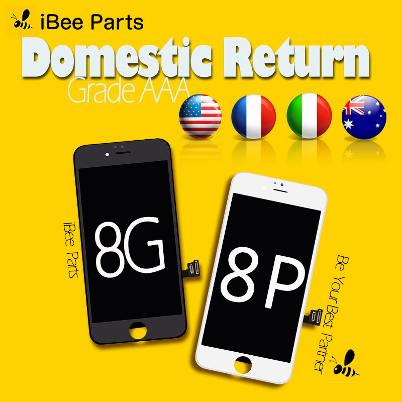 IBee piezas 10 piezas 100% prueba AAA iPhone 8 8 más pantalla táctil LCD con digitizador Asamblea reemplazo perfecto tacto DHL libre