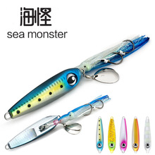 цена на High Quality 100mm 160g Ocean Boat Fishing Lure Japan BKK Hook Metal squid Finishing Tackle Deep Sea Wobblers Lead Head Jig Bait