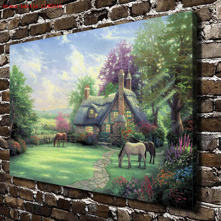 Thomas kinkade a perfect summer day canvas painting print - Home interiors thomas kinkade prints ...