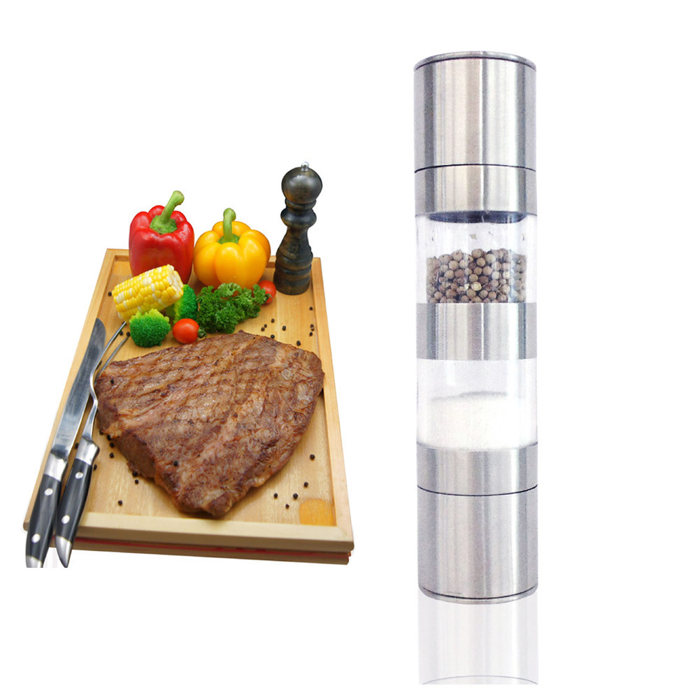 2 in 1 Stainless Steel Manual Salt Pepper Mill Grinder Portable Kitchen Mill Muller Home Kitchen Tool Spice Sauce Grinder Mills