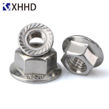 Hex Flange Nut Metric Thread Hexagon Pinking Slip Locking Lock Nut Hexagonal Locknut 304 Stainless Steel M3 M4 M5 M6 M8 M10 M12