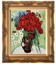 Vase with Daisies and Poppies by Vincent Van Gogh Handpainted
