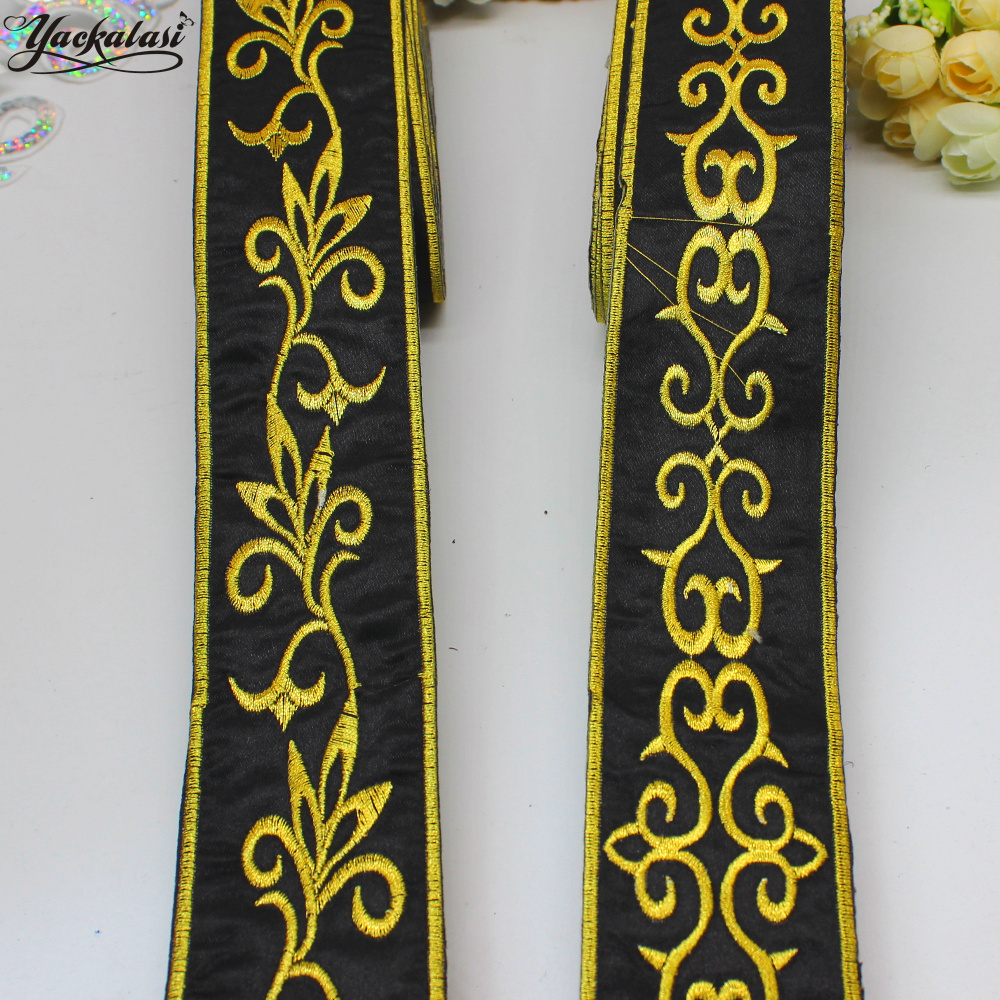 YACKALASI 6 Yds/Lot Gold Black Band Ribbon Metallic Golden ...