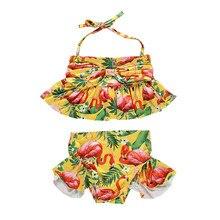 От 1 до 6 лет, одежда для купания для девочек, набор птицы фламинго принт купальный костюм из двух предметов для девочек пляжный сарафан желтый принт детский ванный комплект