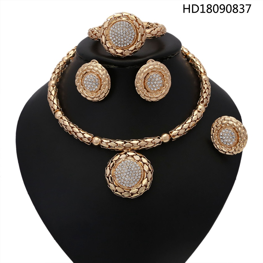 YULAILI Choker Necklace Unique Pendant Gold Color African Jewelry Set for Women Luxury Costume Accessories unique gothic punk sexy black lace pendant necklace fashion trend women choker graceful joker halloween jewelry accessories 2018