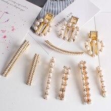 цены Korean Sweet Clips Women Fashion Hair Accessories Metal Pearl Hairpins Lady Simple Hair Clip Barrette Headwear Hair Styling Tool