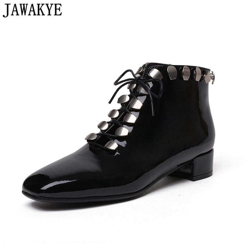 2018 Runway design Boots women metal rivets studded Ankle Boots square toe middle heel punk winter shoes zapatos de mujer punk style chunky heel and rivets design women s ankle boots