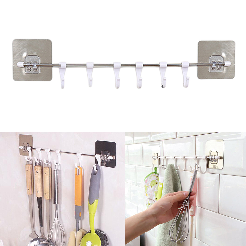 6pcs Storage Rack Shelf Wardrobe Organizer Towels Cupboard Hook Home Tools Hanger Practical Kitchen Gabgets Chest Pantry