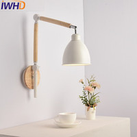 IWHD ברזל הוביל אור עד קיר במורד עץ פמוט קיר גופי תאורת בית מנורת פמוטים זרוע ארוכה מתכוונן Lamparas de Pared|lamparas de pared|wood sconcearm sconce -