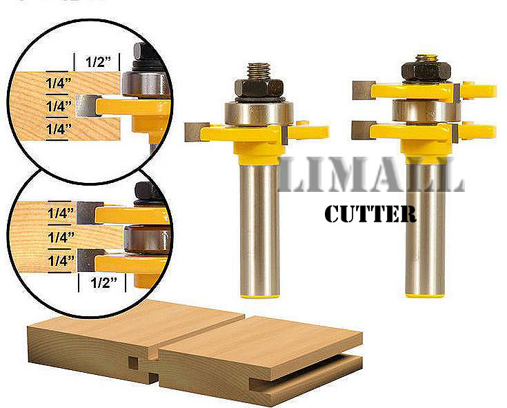 SHK-1/2   1/2X1/4'  3 tooth  T-type tenon cutter knife plate floor tenon cutter woodworking milling cutter 2pc shk 3 175 4 5 up