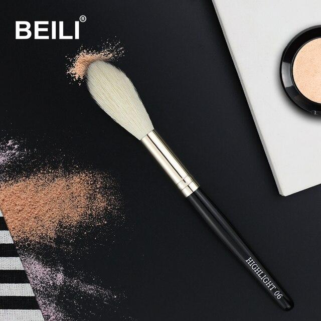 BEILI 1 Piece100 % Real pelo de cabra mango negro destacar Blush pelo largo único maquillaje pinceles/brochas 06 #