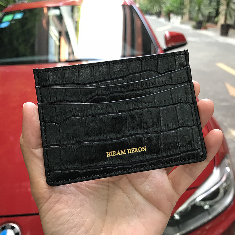 f464cec4bca3 Hiram Beron Genuine Leather Card Holder Men Cow Leather With Crocodile  Pattern Wallet Free Custom Name