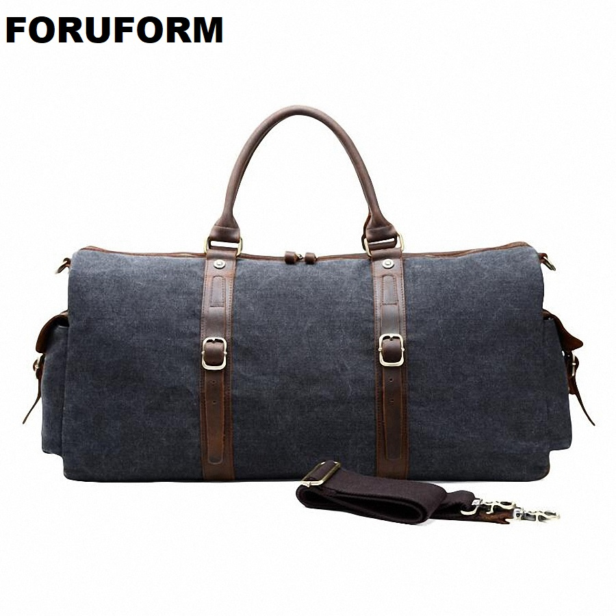 New Canvas Leather Men Bucket Travel Bags Carry On Luggage Bags Men Duffel Bags Travel Tote Large Weekend Bag Overnight LI-2103
