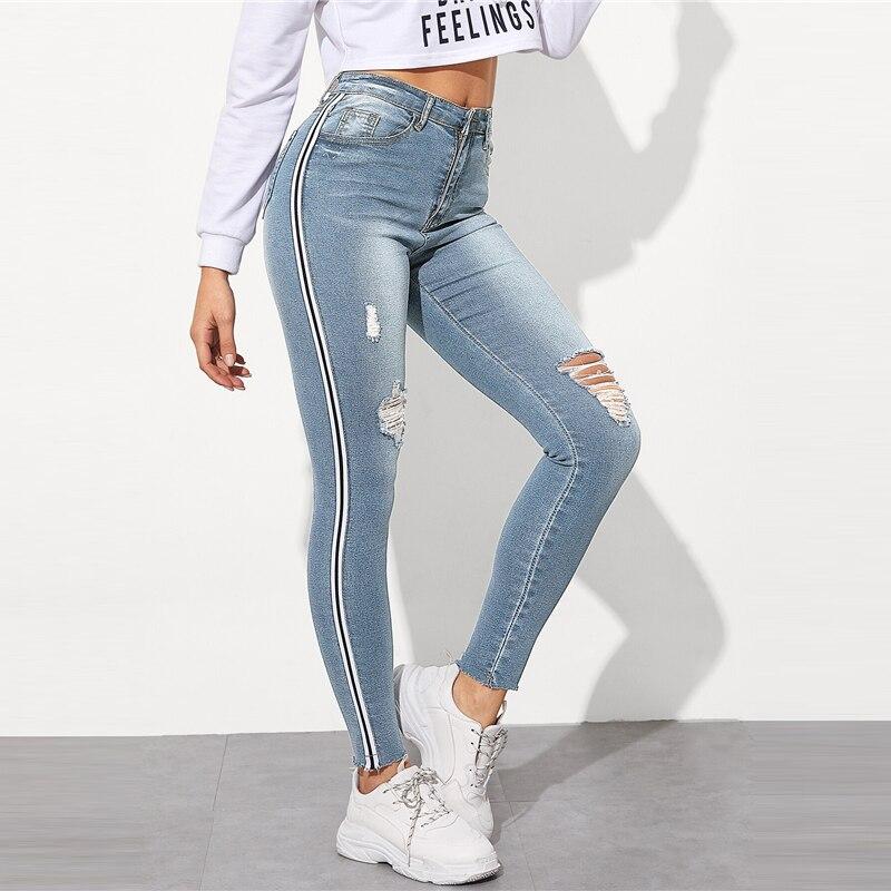SweatyRocks Stripe Side Ripped Skinny Jeans Leisure Stretchy Long Denim Pants 19 Spring Women Streetwear Casual Blue Jeans 23