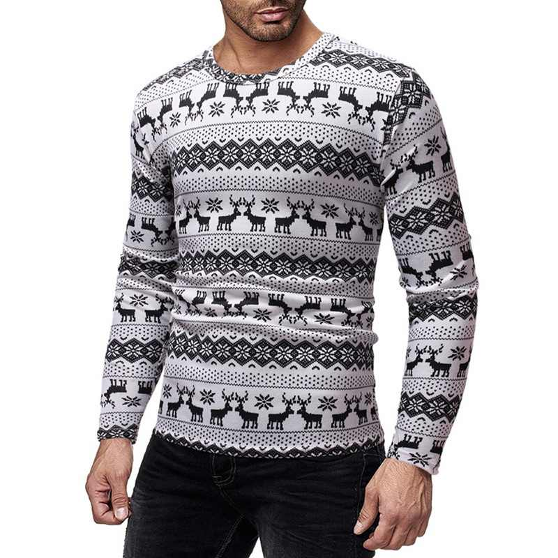 2019 Christmas Sweater Autumn Casual Men's Sweater Slim Fit Knittwear Mens O-Neck Sweaters Pullovers Pullover Men Pull Homme