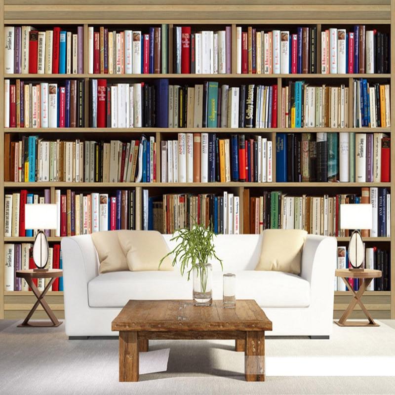 Design Wallpaper Modern Stereo Bookshelf Mural Library